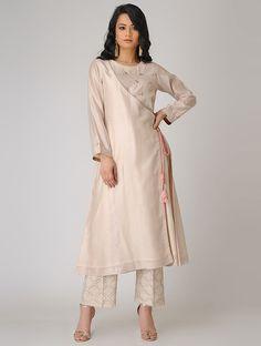 Buy Pink Embroidered Chanderi Angrakha Kurta Silk Women Kurtas Online at Jaypore.com Indian Attire, Indian Outfits, Indian Wear, Angrakha Style, Kurta Style, Sari Blouse Designs, Dress Designs, Indian Designer Suits, Kurta Designs Women