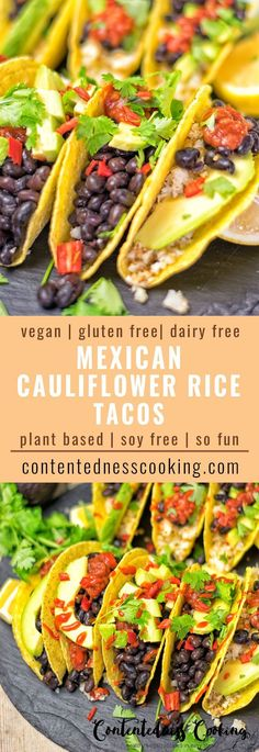 Mexican Cauliflower Rice Tacos an easy 5 ingredient vegan and gluten free recipe for delicious dairy free tacos filled with cauliflower rice and beans. Makes an amazing dinner, lunch, appetizer and is made for parties, gatherings and potlucks.