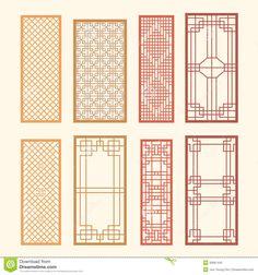 Illustration about Korean old of Window Frame Symbol sets. Korean traditional Pattern is a Pattern Design. Illustration of korea, repeat, decorative - 30661442 Korean Design, Chinese Design, Korean Traditional, Traditional House, Chinese Patterns, Geometric Pattern Design, Korean Art, Korean Style, Border Pattern