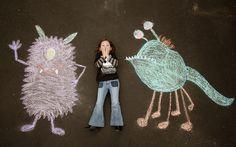 Adventures in Chalk - Adventures in Chalk - burgh baby Chalk Photography, Toddler Photography, Monster Party, Monster Mash, Chalk Photos, Chalk Design, Photos Originales, Sidewalk Chalk Art, Chalk It Up