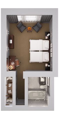 small hotel Waldorf Astoria Edinburgh The Caledonian Premium Twin Room Master Bedroom Plans, Master Bedroom Layout, Hotel Bedroom Design, Bedroom Floor Plans, Bedroom Layouts, Master Bedroom Addition, Layout Design, Studio Apartment Layout, Small Spaces