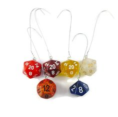 Handmade dice ornament using real gaming dice.  Each ornament comes with your choice of D20.  Please choose a color, photos provided list the colors