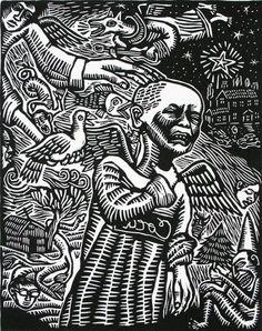 Artemio Rodriguez, Merry Christmas to Whom, 1999. Linocut. Davidson Galleries