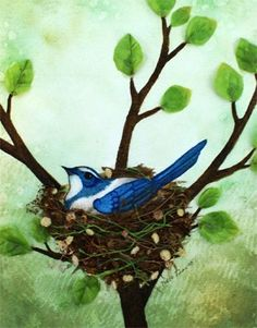 Bird Nest no 9 Scrub Blue Jay Watercolor and Found by KateDolamore, $15.00