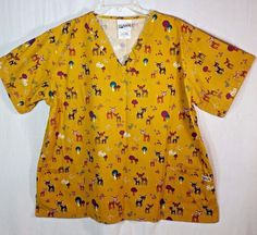 """UA Scrubs. Adorable Reindeer Print. Women's Size XL. Great For Christmas! Approximate Underarm To Underarm - 27"""". Med Scrub Top.   eBay!"""