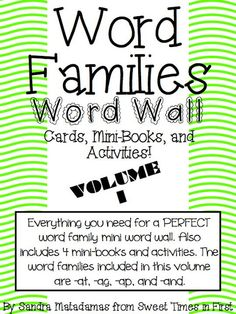 Sweet Times in First: Word Family Word Cards, Mini-Books, and Activities!