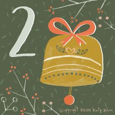 Day 2 of an illustrated advent calendar with a gold Christmas bell, designed by Katy Bloss.