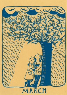 """""""March"""" A print from a perpetual calender printed by hand by Mina Braun"""