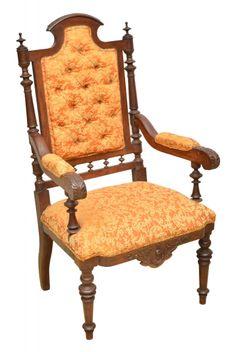 """Cadeira de braço em madeira clara estilo """"Luis XVI"""", França -séc. XIX. Espaldar alto apoiado"""