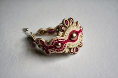 agtesa soutache: Fuchsia wedding set / bridal bracelet