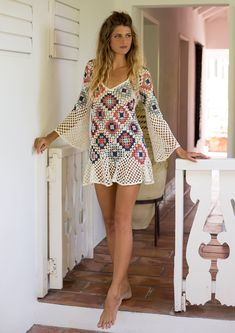Our hand-crocheted mini dress is any boho babe's dream festival or beach look! This form-fitting mini dress with a multicolor geometric pattern and long bell sleeves creates a striking silhouette. Features an alluring v-neckline with a delicately flared hem. Shop Now!