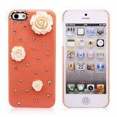 Beautiful Flowers Diamond-studded Hard Case Cover for iPhone 4/4S/5