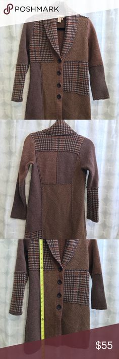 Brown patchwork long sweater coat This sweater coat hits at the knee and patches are in the shades of brown The Territory Ahead Jackets & Coats
