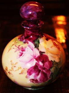 Antique Limoges Perfume Bottle Roses Porcelain France HP