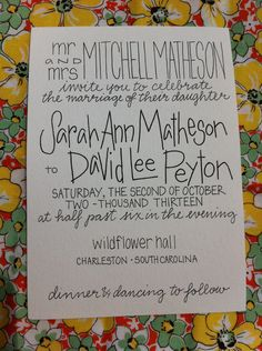 Calligraphy Wedding Invitations custom invitation suite. $2.00, via Etsy.