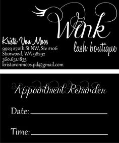 Custom business cards created by the Hats Off in-house design team. The Wink logo is also created custom. They do great eyelash extensions! Starting at $60 for 250 double-sided business cards.