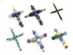 Wire Wrapped Beaded Cross Christmas Ornament
