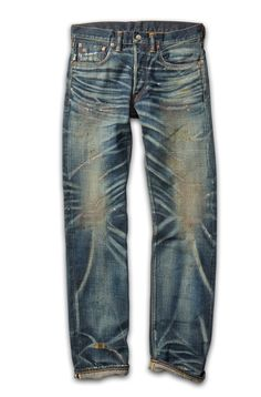 "thedenimfoundry: ""RRL & Co. Slim-Fit Distressed Jean. Part of the Speed on Salt Fall 2015 collection. 1960s-inspired jean made from 13.4 oz. Japanese denim. Cut for a slim fit. High-contrast whiskering, repairs and hand-splattered pigments for a..."