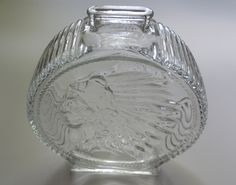 """Indian Head Bank 7"""", Anchor Hocking Glass Bank, 1960s Anchor Hocking Buffalo Nickel Bank, Vintage Clear Glass Two Sided Bank by ShellyisVintage on Etsy"""
