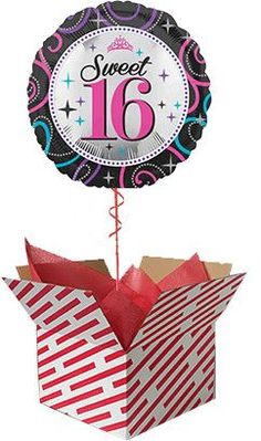 Sweet 16 Helium Balloon Delivered Gifts For 18th Birthday, 21st Birthday, 60th Birthday Balloons, Helium Balloons, Sweet 16, First Birthdays, Baby Gifts, Christmas Ornaments, 50th