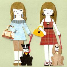 GIRL WITH CUTE PET PUPPY DOG PAPER DOLL CARD by kirakirahoshi
