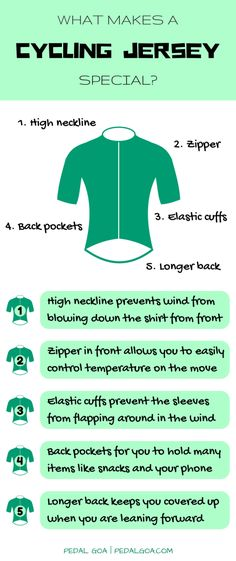Most cycling jerseys are designed with common features, with the biking position of a cyclist in mind. Common features of a cycling-specific shirt: higher neckline, zipper, elastic cuffs and waist, back pockets, longer back. Infographic