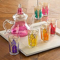 Moroccan Medina Glass Teaset (teapot and six glasses) in traditional North African shape and style, pink and clear glass teapot and glasses with mixed panels of clear and jewel coloured glass, with gold highlights, c. 2010s, handpainted in Casablanca, Morocco