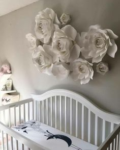 "24 Likes, 1 Comments - Fleurish Holly (@fleurish_designs) on Instagram: ""I always adore seeing the nurseries all set up! This one is so pretty 😍😍 . . . . #paperflowers…"""