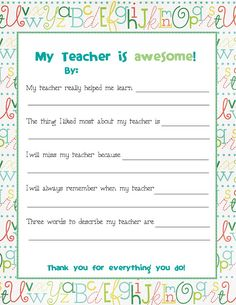 End of Year Teacher Card.send this to . End of Year Teacher Card…send this to all the kids to fill out before school is out and bind/laminate into a booklet for the teacher Teacher End Of Year, End Of School Year, Your Teacher, Teacher Thank You Notes, Teacher Survey, Student Teacher, Student Gifts, Teacher Treats, Teacher Cards
