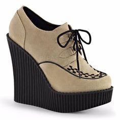 Demonia Creeper-302 Goth Gothic Cream Vegi Suede Wedge Creepers Shoes 6-11