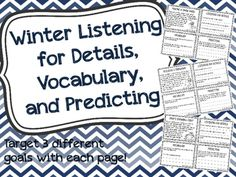"""20 short winter stories, each with 3 """"listening for details"""" questions, 1 vocabulary question, and 1 predicting question!!"""