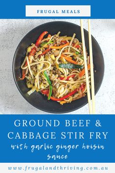 Ground beef and cabbage stir fry uses inexpensive ingredients to make a quick and healthy meal that can be on the table in under 20 minutes. #frugalmeal Frugal Recipes, Healthy Recipes On A Budget, Frugal Meals, Budget Meals, Ground Beef And Cabbage, Cabbage Stir Fry, Cheap Dinners, Hoisin Sauce, Fries
