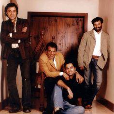 Deol's men: Dharam, Sunny, Bobby and Abhay Bollywood Cinema, Bollywood Photos, Indian Bollywood, Bollywood Stars, Bollywood Actress, Bollywood Masala, Bollywood Party, Pakistani Actress, Indian Celebrities