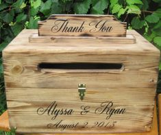 Large Rustic Card Box Keepsake Chest Cards Thank You Natural Personalized Custom Wood on Etsy, $85.00