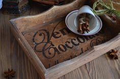 """Купить """"Шоколад с улицы Художников"""" Поднос из массива сосны - поднос, поднос для кухни, поднос деревянный"""