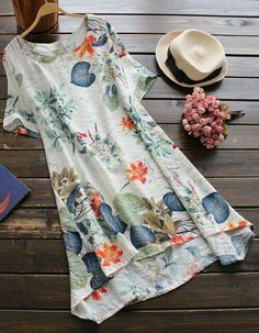 General Neutral Day Dresses Above Knee Off-white Chinese Casual Round Neckline Spring Summer Cotton A-line Dress Floral S M Short Sleeve L XL XXL Tshirt Dress Shift Dresses, Day Dresses, Casual Dresses, Ladies Dresses, Long Dresses, Cool Outfits, Summer Outfits, Summer Dresses, Look Boho