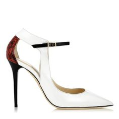 White, Flame and Black Patent and Gloss Elaphe Pointy Toe Pumps | Mystic | Spring Summer 2014 | JIMMY CHOO Pumps