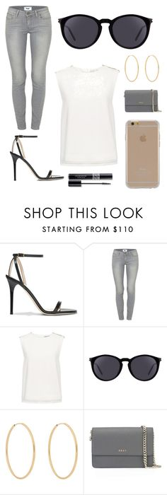 """""""Saturday Fun"""" by greta333 ❤ liked on Polyvore featuring Jimmy Choo, Paige Denim, Finders Keepers, Yves Saint Laurent, Loren Stewart, DKNY, Agent 18 and Christian Dior"""