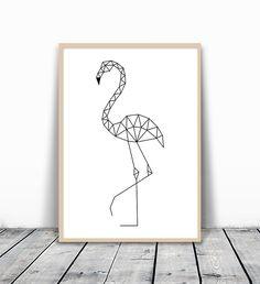 Flamingo Art Geometric Animal Flamingo Print Flamingo
