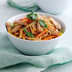 Mary Berrys Stir-fried Ginger Chicken ~ Asian-style main dish w/ julienne bell peppers, carrots, spring onions, and root ginger with noodles in a rice wine soy sauce Recipes With Soy Sauce, Stir Fry Recipes, Cooking Recipes, Healthy Recipes, Savoury Recipes, Bbc Recipes, Game Recipes, Noodle Recipes, Soup Recipes
