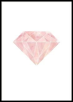 Graphical poster with a pink geometric diamond on white background. Stylish and contemporary print that goes well with our other graphical posters and geometric prints. www,desenio.co.uk