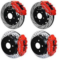 "WILWOOD FRONT & REAR DISC BRAKE KIT, 13"" DRILLED ROTORS, RED SUPERLITE 4 PISTON CALIPERS, PADS, 07-15 JEEP WRANGLER JK, RUBICON SAHARA SPORT UNLIMITED 2007 2008 2009 2010 2011 2012 2013 2014 2015"