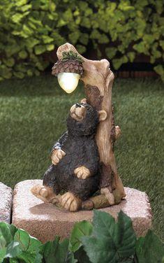 Garden Statues, Garden Sculpture, Outdoor Sculpture, Black Bear Decor, Bear Statue, Tree Carving, Solar Lights, Garden Art, Garden Lamps