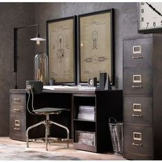 Industrial Modular Office Double Storage Desk System – Chic Home Office Design Industrial Design Furniture, Vintage Industrial Furniture, Industrial Interiors, Industrial House, Industrial Office Desk, Furniture Design, Industrial Farmhouse, Industrial Style, Farmhouse Office