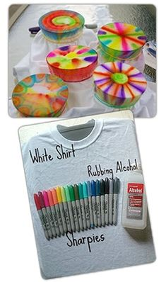 Sharpie dyeing. would make a cool birthday party craft for older kids.