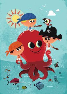 Cute pirate boys illustration