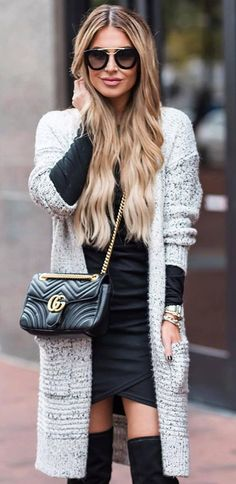 knit and black / cardigan + bag + dress + over the knee boots