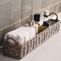 "to ""Hotel-ify"" Your Guest Bath by The Everyday Home – diy bathroom decor Bathroom Organization, Bathroom Storage, Organization Ideas, Storage Ideas, Basket Storage, Bathroom Baskets, Towel Storage, Bathroom Counter Decor, Storage Hacks"