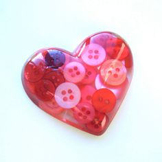 Valentines Heart Brooch Handmade with Buttons, Resin and Love Ring by RubyBijou on Etsy