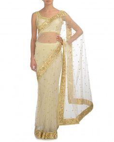 Ivory Sari with Gota and Sequin Embellishments - Wedding